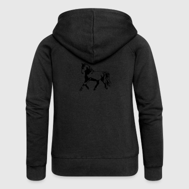 Proud, gathered horse in trot - Women's Premium Hooded Jacket