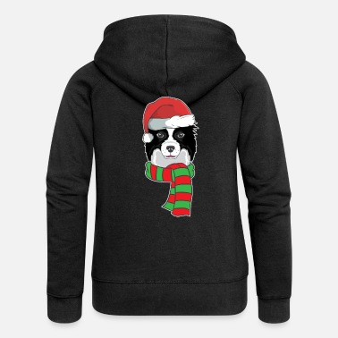 Border Collie Funny Christmas Dog Xmas Santa Border Collie - Women's Premium Hooded Jacket