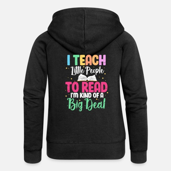 Gift Idea Hoodies & Sweatshirts - Reading teacher teacher - Women's Premium Zip Hoodie black