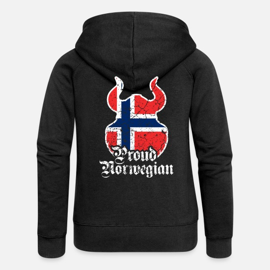 Birthday Hoodies & Sweatshirts - Norwegian Norwegian Norway Viking - Women's Premium Zip Hoodie black