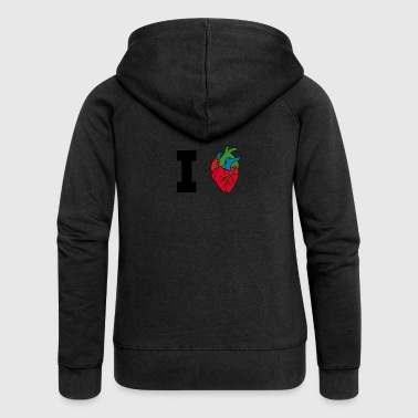 I love / heart / heart / hearts - Women's Premium Hooded Jacket