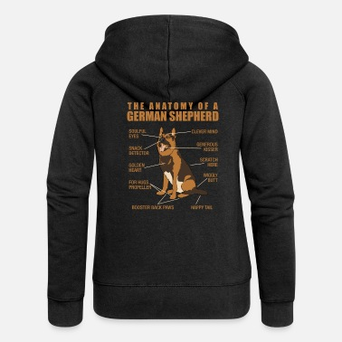 German The Anatomy Of A German Shepherd - Dog Owner - Women's Premium Hooded Jacket