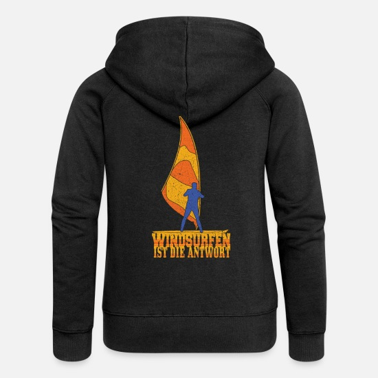 Aquatics Hoodies & Sweatshirts - Windsurfing is the answer windsurfers - Women's Premium Zip Hoodie black
