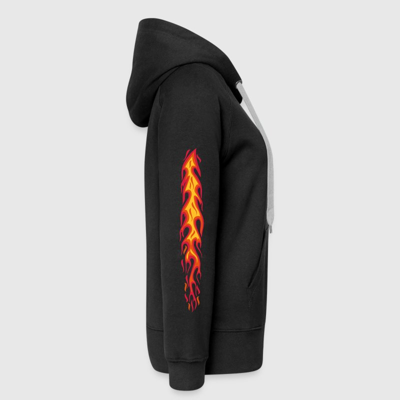 flames flammen fire 3color arm sleeves tattoo  - Women's Premium Hooded Jacket