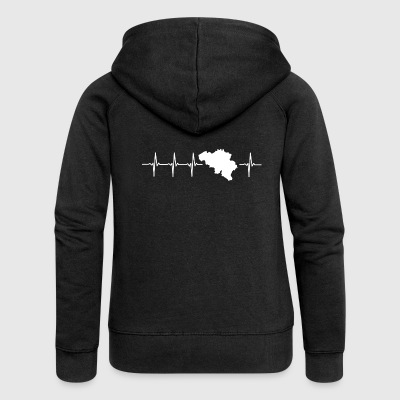 Belgium, heartbeat design (I love Belgium) - Women's Premium Hooded Jacket