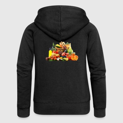 orange banana apple tomato cucumber pineapple - Women's Premium Hooded Jacket