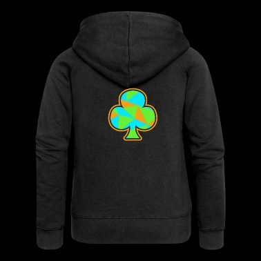 Playing Card Cross Shamrock Gift Skat Poker - Women's Premium Hooded Jacket