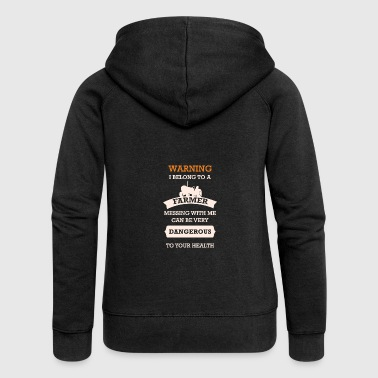 WARNING I BELONG TO A FARMER - Frauen Premium Kapuzenjacke