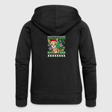 Chihuahua Weichnachten Ugly Sweater - Women's Premium Hooded Jacket