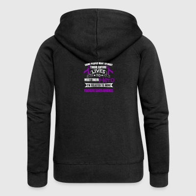 Pancreatic Cancer Awareness! Related to my Hero! - Women's Premium Hooded Jacket