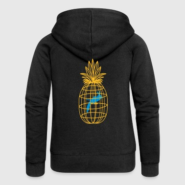 pineapple and bird cage - Women's Premium Hooded Jacket