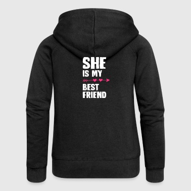 She is my best friend Left - Women's Premium Hooded Jacket