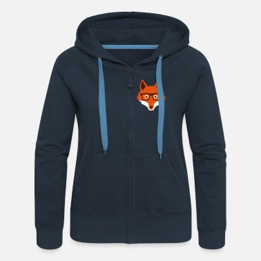Hipster Sweet Funny hipster fox with nerd glasses - Women's Premium Hooded Jacket