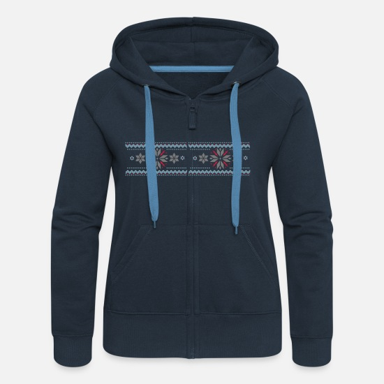 Norwegian Hoodies & Sweatshirts - Star pattern in the Norwegian style - Women's Premium Zip Hoodie navy
