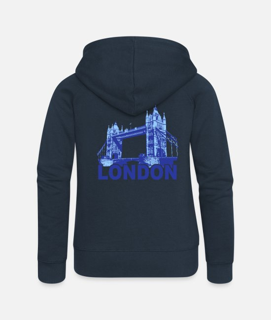 Großbritannien Pullover & Hoodies - London Blue Tower Bridge - Frauen Premium Kapuzenjacke Navy