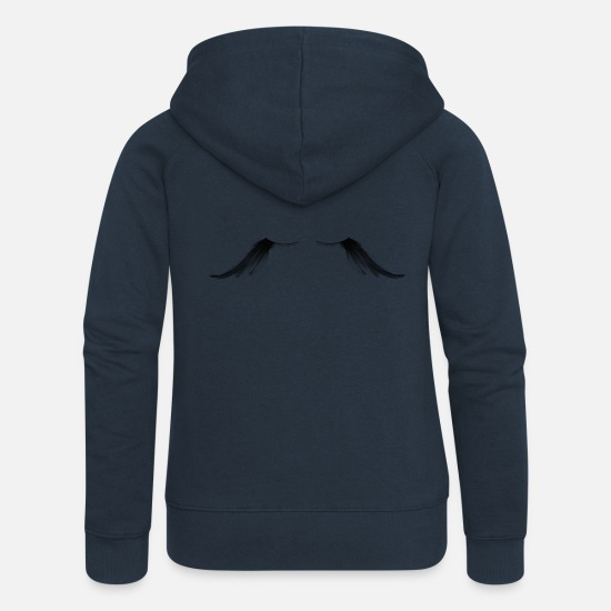 Feather Hoodies & Sweatshirts - Eyelashes - Feather - Gift Idea - Women's Premium Zip Hoodie navy