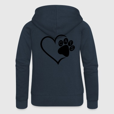 Pet Cat Cats Heart Paw Pet Animals Cat Cats sw - Women's Premium Hooded Jacket