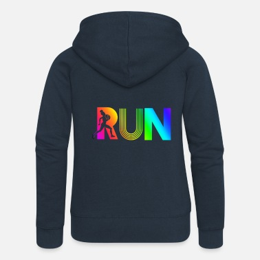 Funny run rainbow running athletic - Women's Premium Zip Hoodie