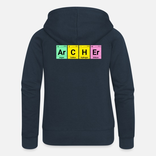 Chemistry Hoodies & Sweatshirts - Archer Chemical elements archer - Women's Premium Zip Hoodie navy