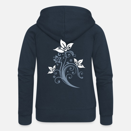 Floral Hoodies & Sweatshirts - Flowers with filigree floral ornament. Feminine. - Women's Premium Zip Hoodie navy