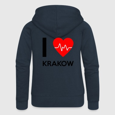 J'aime Cracovie - I love Cracovie - Veste à capuche Premium Femme