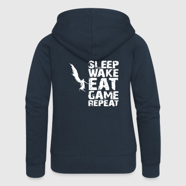 Repeat Sleep Wake Eat Game Repeat - Women's Premium Hooded Jacket