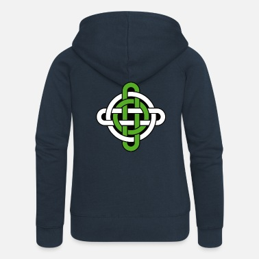 Celtic Knot celtic knot green and white - Celtic knot - Women's Premium Zip Hoodie
