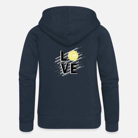 Love Sweat-shirts - Amour Volleybal Joueur De Volleyball Cadeau - Veste à capuche premium Femme marine