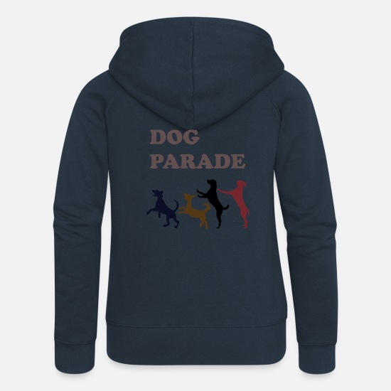 Play Hoodies & Sweatshirts - dog parade, dog, pet, animal, parade, dance - Women's Premium Zip Hoodie navy