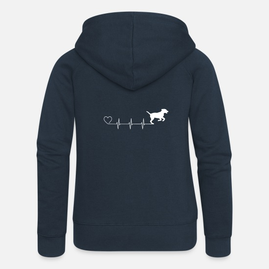 Dog Hoodies & Sweatshirts - Heartbeat dog dog lover animal lover gift - Women's Premium Zip Hoodie navy