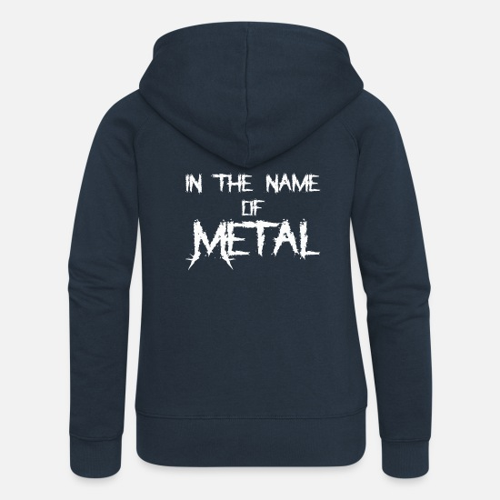Devil Horns Hoodies & Sweatshirts - IN THE NAME OF METAL SHIRT - Women's Premium Zip Hoodie navy