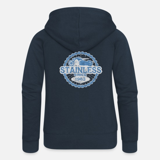 Rocker Pullover & Hoodies - stainless biker shirt born ride road man 1963 - Frauen Premium Kapuzenjacke Navy