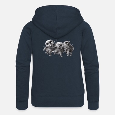 three crazy owls - Women's Premium Zip Hoodie