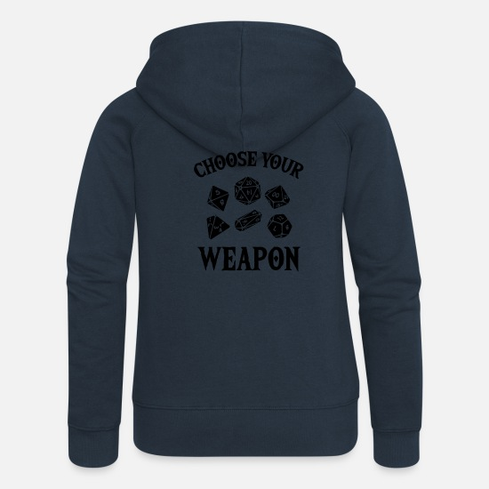Gift Idea Hoodies & Sweatshirts - RPG Gamer Weapon Dice RPG LARP Gift - Women's Premium Zip Hoodie navy