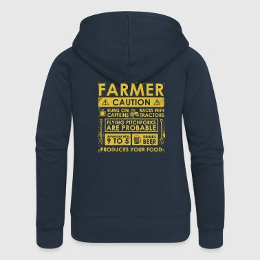 Farming Farmer: Caution! - Women's Premium Hooded Jacket