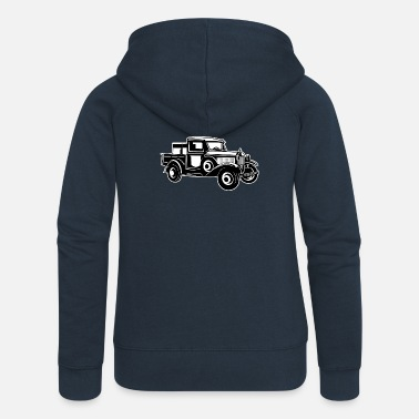 Vehicle Pickup Oldtimer Truck 01_black white - Women's Premium Zip Hoodie