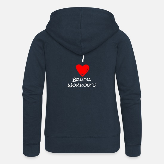 Training Pullover & Hoodies - I Love Brutal Workouts - Frauen Premium Kapuzenjacke Navy