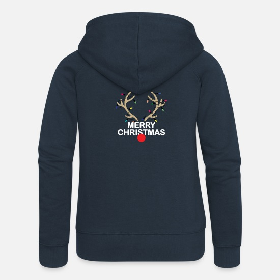 Christmas Hoodies & Sweatshirts - Christmas - Women's Premium Zip Hoodie navy