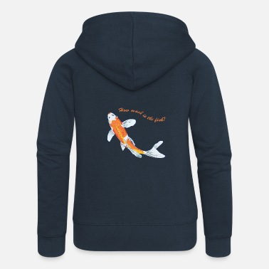 Koi Koi with text - Women's Premium Hooded Jacket