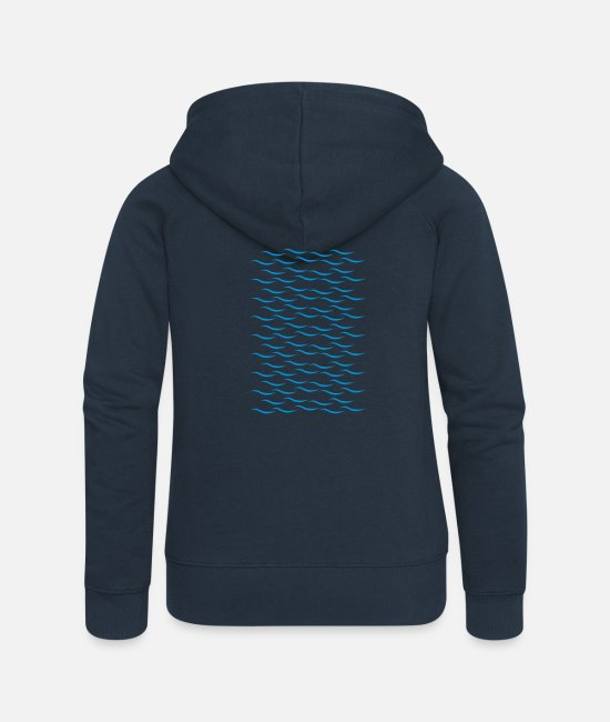 Water Hoodies & Sweatshirts - Waves - Women's Premium Zip Hoodie navy
