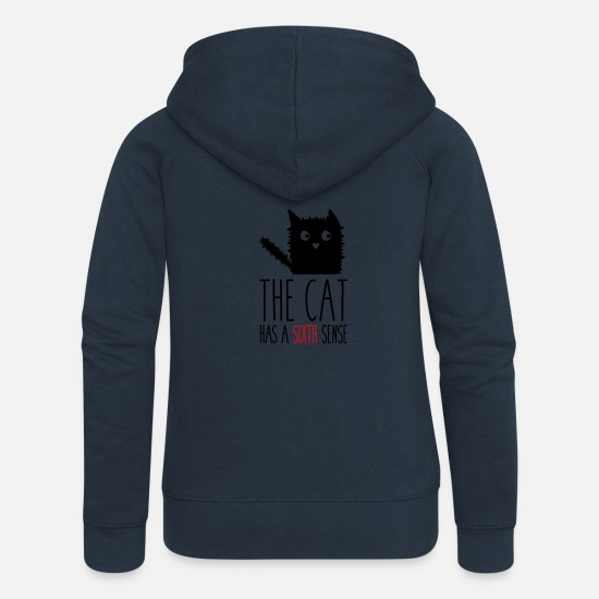 Sensei Felpe - The cat has a sixth sense - Felpa con zip premium donna navy
