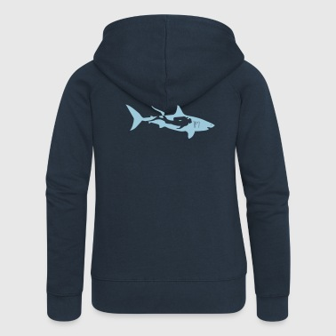 scuba diving diver shark jaws whale dolphin - Women's Premium Hooded Jacket