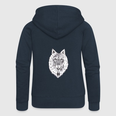 Hand drawn pattern WOLF - Women's Premium Hooded Jacket