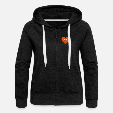 Love heart face - Women's Premium Zip Hoodie