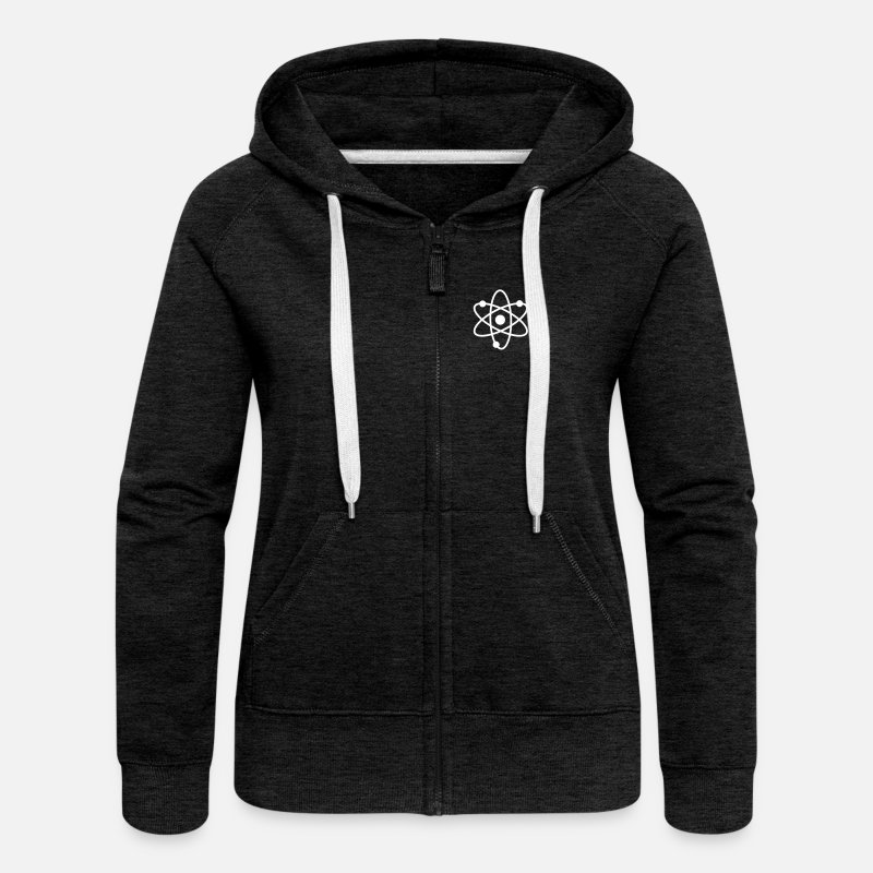 Science Hoodies & Sweatshirts - science symbol / nerd - Women's Premium Zip Hoodie charcoal grey