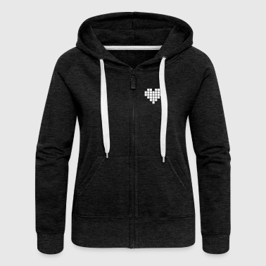 Pixel Love / pixel heart - Women's Premium Hooded Jacket