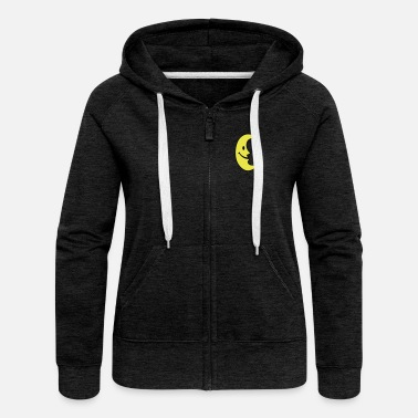 Zip Smiley Moon - Women's Premium Hooded Jacket