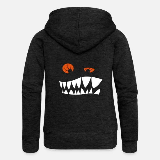 Eye Hoodies & Sweatshirts - Toothed grimace with red eyes - Women's Premium Zip Hoodie charcoal grey