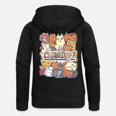 Pet Caturday cat pet cuddle family gift - Women's Premium Zip Hoodie