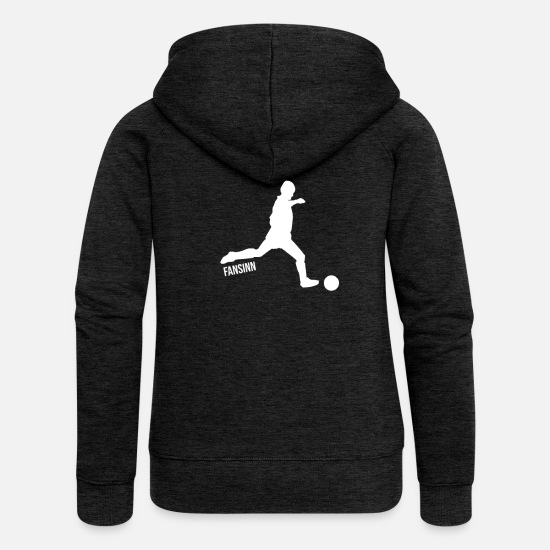 Red Card Hoodies & Sweatshirts - Football sport gift funny fun goal penalty kick - Women's Premium Zip Hoodie charcoal grey